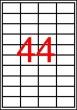 APLI etikett, A4, 48,5x25,4 mm, 4 pályás, átlátszó, tintasugaras