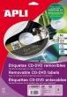 APLI etikett, A4, 114/41 mm, eltávolítható, CD/DVD címke