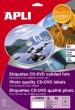 APLI etikett, A4, 114/18 mm, Mega fotó minőségű magyar nyelvű, CD/DVD címke