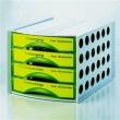HELIT irattároló, műanyag, 4 fiókos, zárt, neon zöld