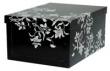 MULTIBRAND tárolódoboz, 33x25x16 cm, virágok, fekete