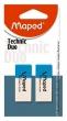 MAPED radír, Technic Duo, 39x11x17 mm, ceruza és toll, 2 db/bliszter