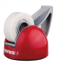 KORES ragasztószalag adagoló, asztali, Deskpot, piros/szürke, feltöltve