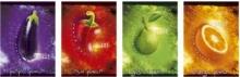 UNIPAP spirálfüzet, A4, 50 lapos, karton borítós, Gyümölcs-zöldség, vonalas