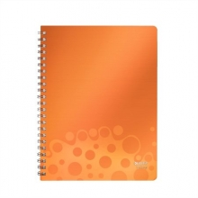LEITZ spirálfüzet, A4, 80 lapos, PP borítós, Bebop, narancssárga, vonalas