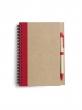 spirálfüzet, 13,7x18 cm, 60 lapos, újrahasznosított papírból, piros, sima
