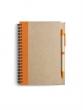 spirálfüzet, 13,7x18 cm, 60 lapos, újrahasznosított papírból, narancs, sima
