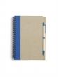 spirálfüzet, 13,7x18 cm, 60 lapos, újrahasznosított papírból, kék, sima