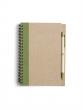 spirálfüzet, 13,7x18 cm, 60 lapos, újrahasznosított papírból, zöld, sima