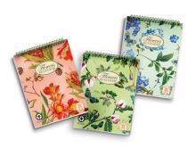 PIGNA spirálfüzet, A5, 50 lapos, karton borítós, Nature Flowers, vegyes, kockás
