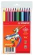 STABILO színes ceruza készlet, háromszögletű, Trio, 12 db-os, vastag