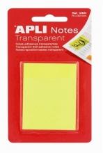 APLI jelölőlap, öntapadó, 75x50 mm, 50 lapos, átlátszó, sárga