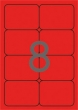 APLI etikett, A4, 99,1x67,7 mm, 2 pályás, kerekített sarkú, neon piros