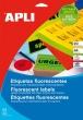 APLI etikett, A4, 99,1x139 mm, 2 pályás, kerekített sarkú, neon piros