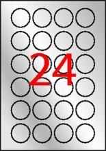 APLI etikett, A4, 40 mm, kör, poliészter, időjárásálló, ezüst