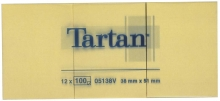 TARTAN jegyzettömb, öntapadós, 38x51 mm, 100 lapos, sárga