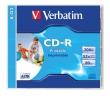 VERBATIM CD-R, 700 MB, 80 min, 52x, normál tokban, szélesen nyomtatható ID