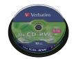 VERBATIM CD-RW, 700 MB, 8-10x, újraírható, hengeren