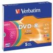 VERBATIM DVD-R, 4,7 GB, 16x, vékony tokban, színes