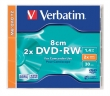 VERBATIM DVD-RW, 1,4 GB, 2x, 8 cm, normál tokban