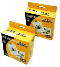 FELLOWES boríték, CD/DVD, papír, ablakos, öntapadós füllel, fehér