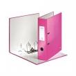 LEITZ iratrendező, A4, 80 mm, PP/PP, élvédő sínnel, lakkfényű, Wow, 180°, rózsaszín