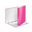 LEITZ gyűrűskönyv, A4, 40 mm, 4 gyűrűs, D alakú, karton, lakkfényű, Wow, rózsaszín