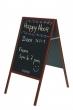 BI-OFFICE megállító tábla, 60x120 cm, krétás, cseresznyefa kerettel, fekete