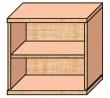 VICTORIA szekrény, 2 polcos, nyitott, magas, 75x75x38 cm, bükk