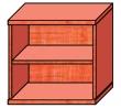 VICTORIA szekrény, 2 polcos, nyitott, magas, 75x75x38 cm, alma