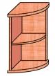 VICTORIA szekrény, 2 polcos, nyitott, magas, sarok, 38x75x38 cm, cseresznye