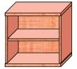 VICTORIA szekrény, 2 polcos, nyitott, magas, 75x75x38 cm, cseresznye