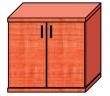 VICTORIA szekrény, 2 magas polcos, kétajtós, 75x75x38 cm, alma