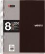 MIQUELRIUS spirálfüzet, A5, 200 lapos, PP borítós, Note book 8, fekete, kockás