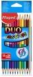 MAPED színes ceruza készlet, háromszögletű, Color`Peps Duo, 12 db-os
