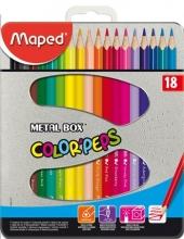 MAPED színes ceruza készlet, háromszögletű, Color`Peps, fém doboz, 18 db-os