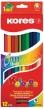 KORES színes ceruza készlet, háromszögletű, Duo, kétvégű, 12 db-os