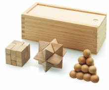 játék, fa-fejtörő, 3 db-os
