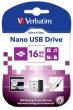 VERBATIM pendrive, 16 GB, USB 2.0, 10/3MB/sec, Nano