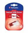 VERBATIM pendrive, 16 GB, USB 2.0, 8/2MB/sec, Swivel, Piros