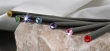 ceruza, tanzanite lila kristállyal, 17,5cm, MADE WITH SWAROVSKI ELEMENTS, fekete