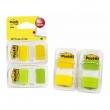 3M POSTIT jelölőcímke, műanyag, 2x50 lap, 25x43 mm, sárga és zöld