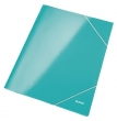 LEITZ gumis mappa, 15 mm, karton, A4, lakkfényű, Wow, jégkék
