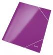 LEITZ gumis mappa, 15 mm, karton, A4, lakkfényű, Wow, lila
