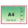 TARIFOLD bemutatótábla, függő, A4, fekvő, fém fülecskével, piros