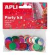 APLI konfetti, metál,15 mm, kör, vegyes színek