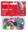 APLI konfetti, metál, 13 mm, virágok, vegyes színek