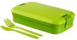 CURVER ételtartó, evőeszközzel, Lunch&Go, zöld