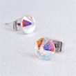 SWAROVSKI fülbevaló, Crystals from 1 kristályos lapos hátuljú, színjátszós opál 8mm